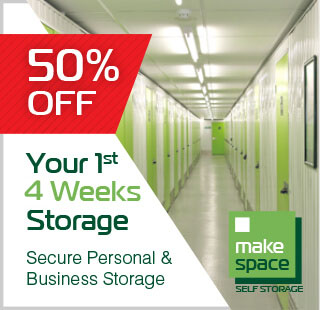 Special offer on storage for A2B Self Drive customers - 50% off 1st 4 weeks of storage